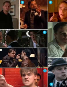 1. The Departed 2. Django Unchained 3. The Man in the Iron Mask 4. Revolutionary Road 5. The Aviator 6. Inception 7. The Basketball Diaries 8. J. Edgar